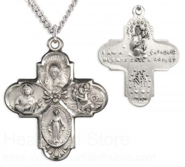 Heartland Mens Sterling Silver 4 Way Cross Pendant with Floral Center