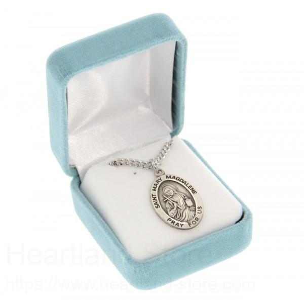 Mens st mary magdalene necklace oval sterling silver with chain alternate image 1 mozeypictures Gallery