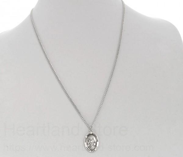 Mens st mary magdalene necklace oval sterling silver with chain alternate image 2 mozeypictures Gallery