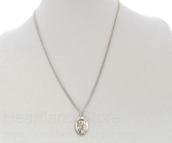Mens st peregrine necklace oval sterling silver with chain options alternate image 2 mozeypictures Image collections