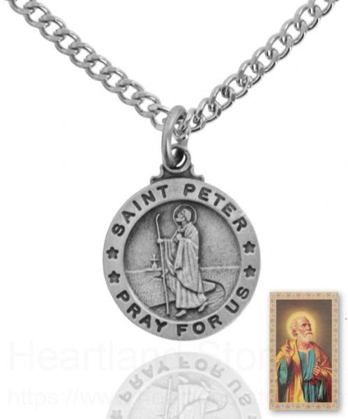 416701a72d2 Round St. Peter Necklace and Prayer Card Set Silver-tone
