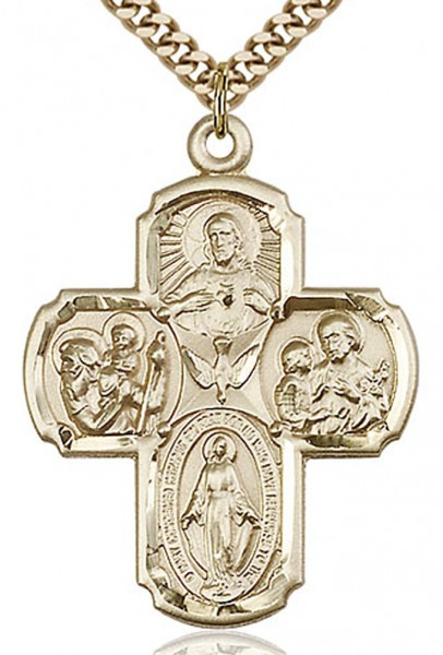"4 Way Cross Pendant, Gold Filled - 24"" 2.4mm Gold Plated Chain + Clasp"