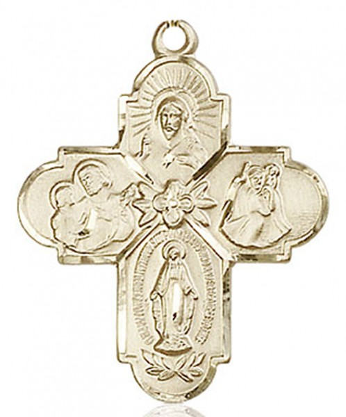 4 Way Cross Pendant, Gold Filled - No Chain