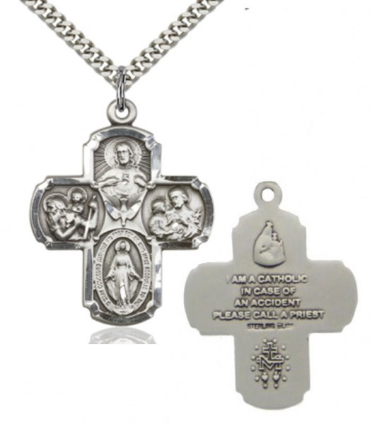 "4 Way Cross Pendant, Sterling Silver - 27"" 2.4mm Rhodium Plated Endless Chain"