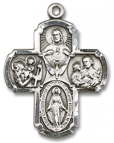 4 Way Cross Pendant, Sterling Silver - No Chain