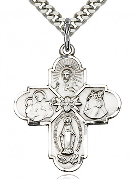 "4 Way Cross Pendant, Sterling Silver - 24"" 2.4mm Rhodium Plate Chain + Clasp"
