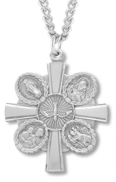 "Men's Sterling Silver Unique Two Sided 5 Way Cross Necklace with Chain Options - 24"" 2.4mm Rhodium Plate Chain + Clasp"