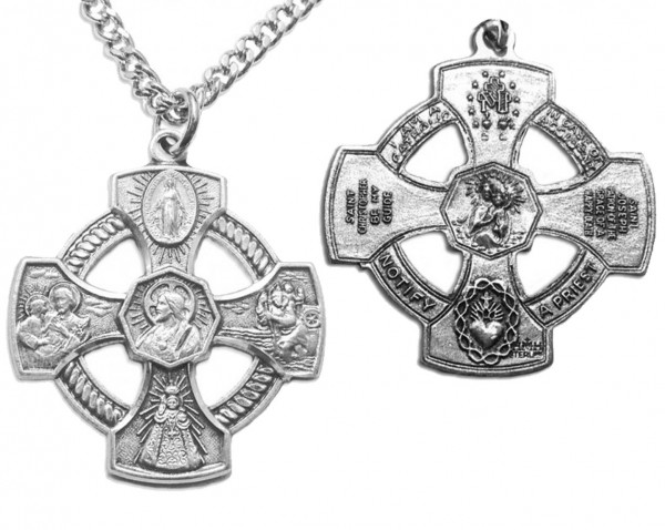"Men's Infant of Prague 4 Way Cross Necklace with Chain Options - 24"" 2.4mm Rhodium Plate Chain + Clasp"