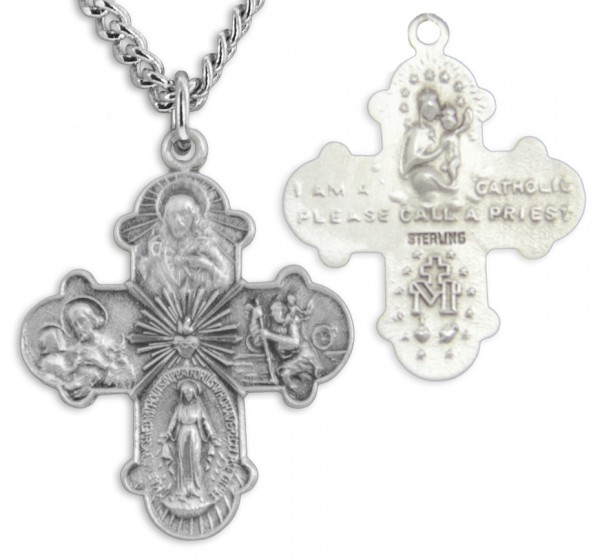 "Men's Sterling Silver 4 Way Necklace with Sacred Heart Center with Chain Options - 24"" Sterling Silver Chain + Clasp"