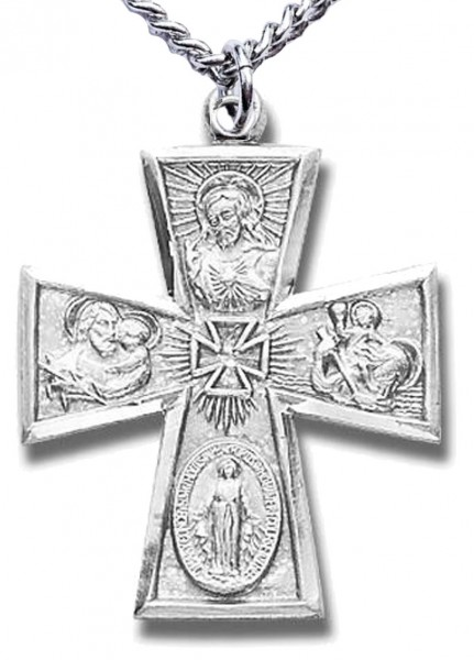 "Men's Sterling Silver Maltese Tip 4 Way Cross Necklace with Chain Options - 24"" 2.4mm Rhodium Plate Chain + Clasp"