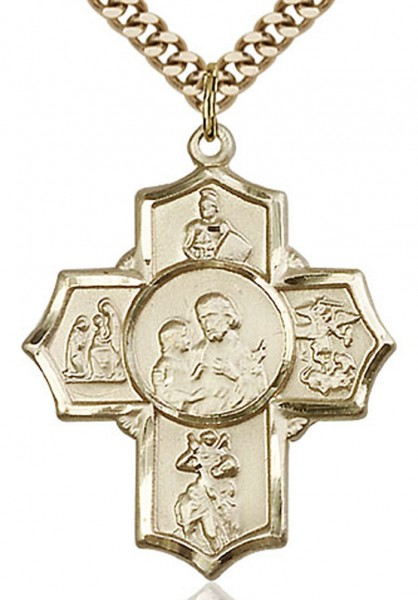 "5 Way Cross Firefighter Medal, Gold Filled - 24"" 2.4mm Gold Plated Chain + Clasp"