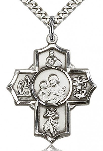 "5 Way Cross Firefighter Medal, Sterling Silver - 24"" 2.4mm Rhodium Plate Endless Chain"
