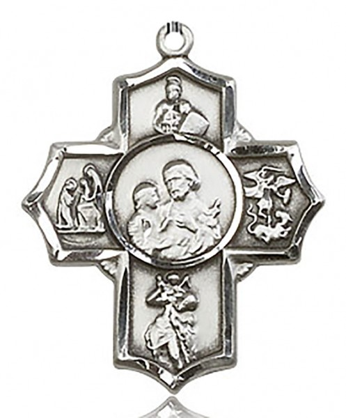 5 Way Cross Firefighter Medal, Sterling Silver - No Chain