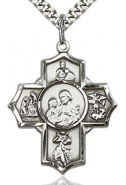 "5 Way Cross Firefighter Medal, Sterling Silver - 24"" 1.7mm Sterling Silver Chain & Clasp"