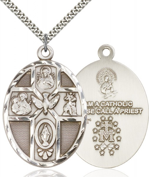 "5 Way Cross Holy Spirit Medal, Sterling Silver - 24"" 2.2mm Sterling Silver Chain + Clasp"