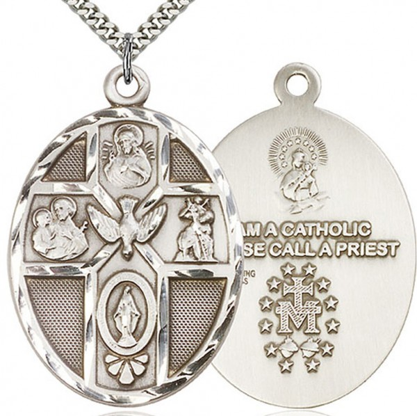 "5 Way Cross Holy Spirit Medal, Sterling Silver - 24"" 2.4mm Rhodium Plate Chain + Clasp"