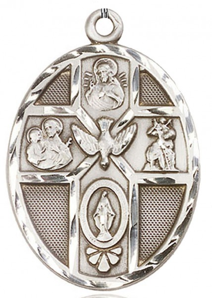 5 Way Cross Holy Spirit Medal, Sterling Silver - No Chain