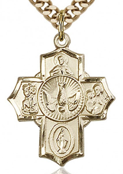 "5 Way Cross Pendant, Gold Filled - 24"" 2.4mm Gold Plated Endless Chain"