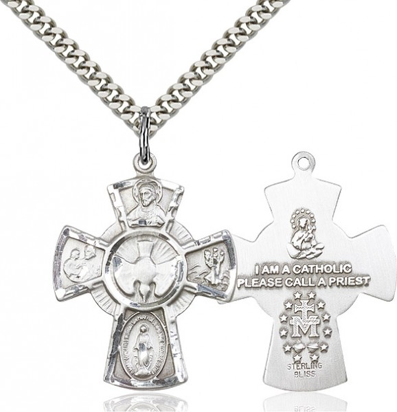 "5 Way Cross Pendant, Sterling Silver - 24"" 2.2mm Sterling Silver Chain + Clasp"