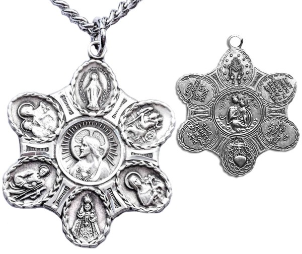 "Men's Sterling Silver Unique 7 Way Necklace with Chain Options - 20"" 2.25mm Rhodium Plated Chain with Clasp"
