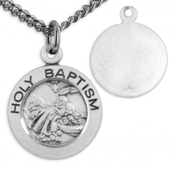 "Women's Sterling Silver Small Baptism Necklace Round with Chain Options - 18"" 2.1mm Rhodium Plate Chain + Clasp"