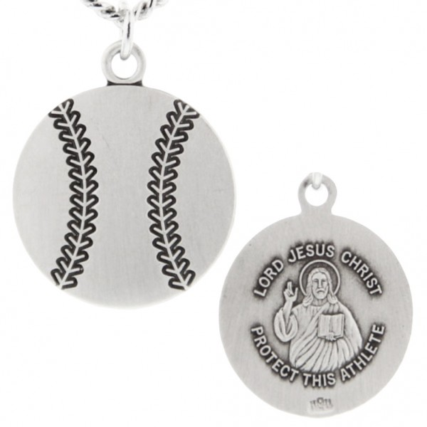"Baseball Shape Necklace with Jesus Figure Back in Sterling Silver - 20"" 2.25mm Rhodium Plated Chain with Clasp"