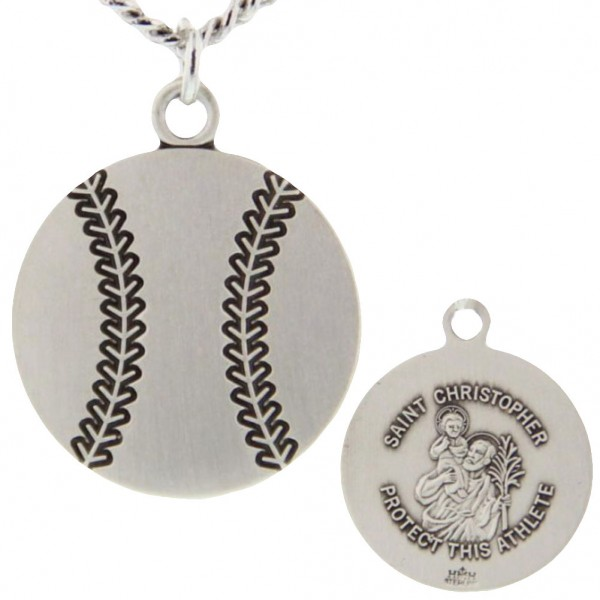 "Baseball Shaped Necklace with Saint Christopher Back in Sterling Silver - 24"" 2.4mm Rhodium Plate Chain + Clasp"