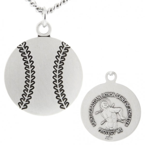 "Baseball Shaped Necklace with Saint Sebastian Back in Sterling Silver - 24"" 2.4mm Rhodium Plate Chain + Clasp"