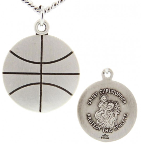 "Basketball Shaped Necklace with Saint Christopher Back in Sterling Silver - 20"" 2.25mm Rhodium Plated Chain with Clasp"