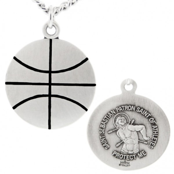 "Basketball Shaped Necklace with Saint Sebastian Back in Sterling Silver - 24"" 2.4mm Rhodium Plate Chain + Clasp"