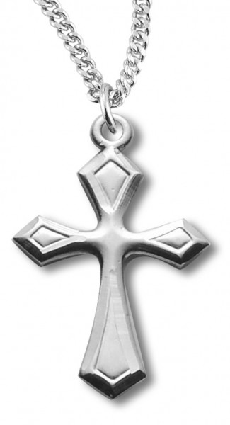 "Women's Sterling Silver Beveled Edge Cross Necklace with Chain Options - 20"" 1.8mm Sterling Silver Chain + Clasp"