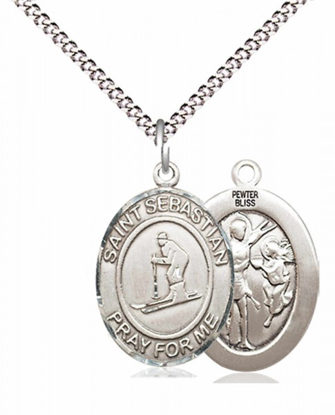 "Boy's Pewter Oval St. Sebastian Skiing Medal - 18"" Rhodium Plated Medium Chain + Clasp"