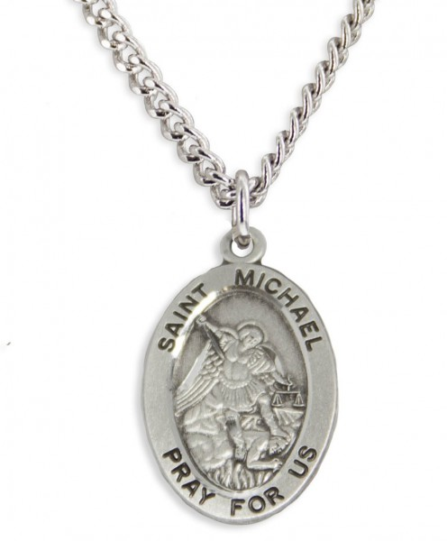 "Boy's Saint Michael Necklace Oval Sterling Silver with Chain - 20"" 2.25mm Rhodium Plated Chain with Clasp"