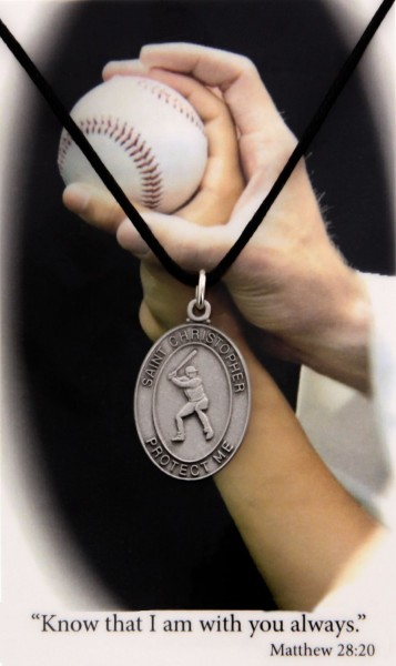 Boy's St. Christopher Baseball Medal with Leather Chain and Prayer Card Set - Single