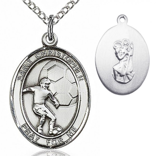 "Boy's Sterling Silver Saint Christopher Soccer Medal - 18"" 1.2mm Sterling Silver Chain + Clasp"