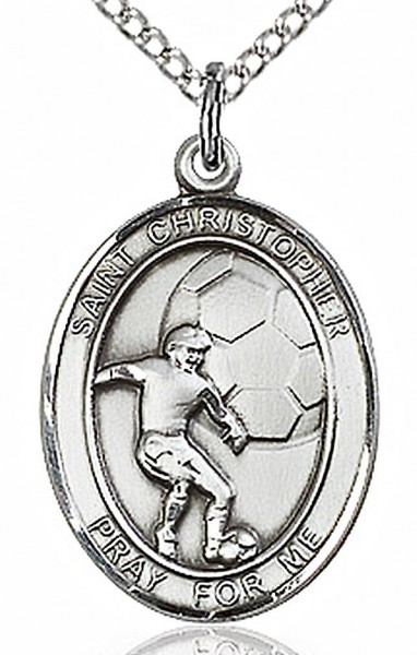 "Boy's Sterling Silver Saint Christopher Soccer Medal - 18"" Lite Rhodium Plate Chain + Clasp"