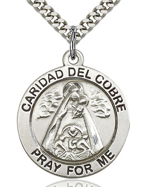 "Caridad Del Cobre Medal, Sterling Silver - 24"" 2.4mm Rhodium Plate Chain + Clasp"