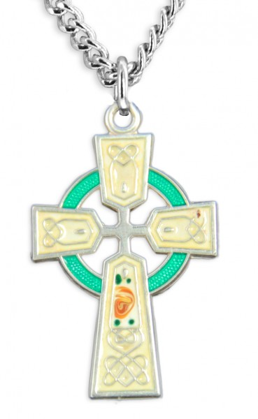 "Women's Sterling Silver Celtic Cross Necklace Green Red Enamel Floral Accents with Chain Options - 18"" 2.1mm Rhodium Plate Chain + Clasp"