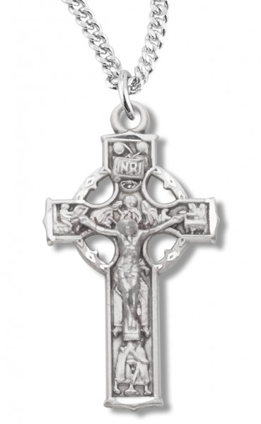 "Women's Sterling Silver Celtic Crucifix Necklace with Chain Options - 18"" 2.1mm Rhodium Plate Chain + Clasp"