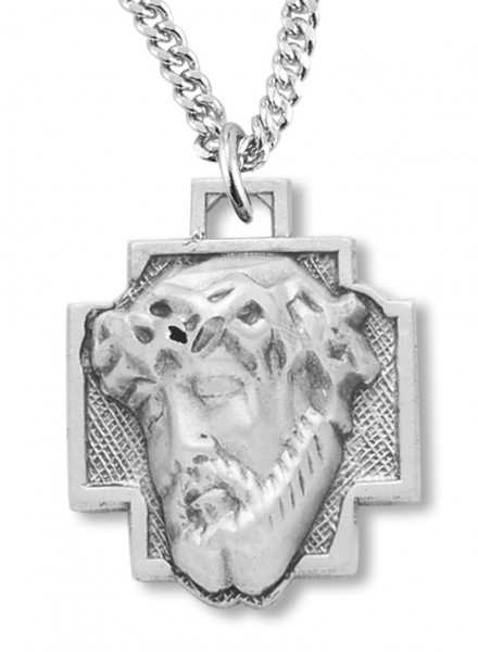 "Women's Sterling Silver Christ Head with Crown of Thorns Necklace with Chain Options - 18"" 2.1mm Rhodium Plate Chain + Clasp"