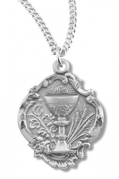 "Communion Necklace Baroque Style, Sterling Silver with Chain Options - 20"" 2.25mm Rhodium Plated Chain with Clasp"