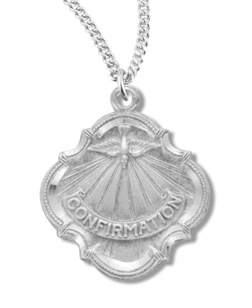 "Youth Sterling Silver Baroque Style Confirmation Necklace with Chain - 20"" 1.8mm Sterling Silver Chain + Clasp"