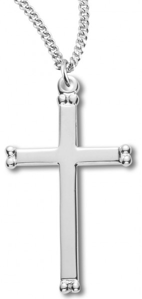 "Women's Sterling Silver Double Beaded End Cross Necklace High Polish Finish with Chain Options - 20"" 2.25mm Rhodium Plated Chain with Clasp"