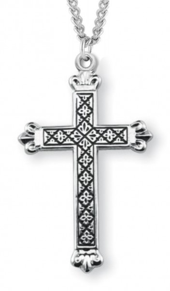 "Cross Necklace Blackened Etched, Sterling Silver with Chain - 18"" 1.8mm Sterling Silver Chain + Clasp"