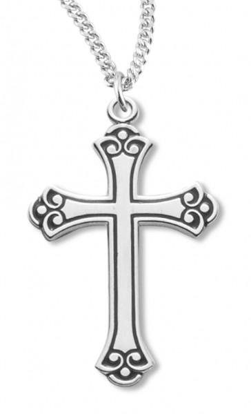 "Cross Necklace Fancy Black Etched Enameled, Sterling Silver with Chain - 18"" 2.1mm Rhodium Plate Chain + Clasp"