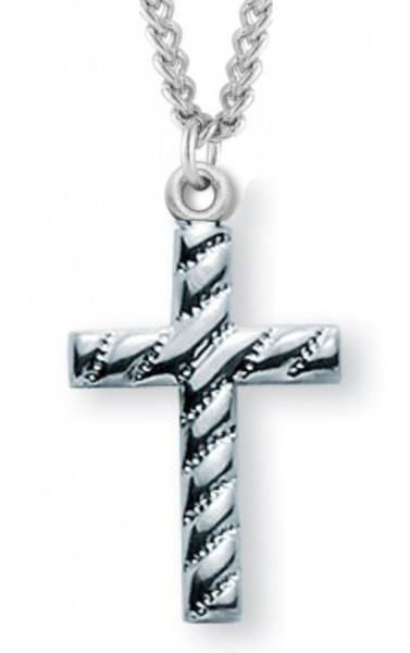 "Cross Necklace Lined, Sterling Silver with Chain - 18"" 1.8mm Sterling Silver Chain + Clasp"