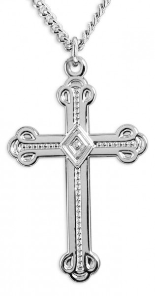 "Men's Crusaders Cross Necklace, Sterling Silver with Chain Options - 24"" 2.4mm Rhodium Plate Endless Chain"