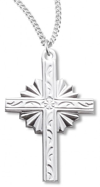 "Cross Necklace, Sterling Silver with Chain with Options - 20"" 1.8mm Sterling Silver Chain + Clasp"