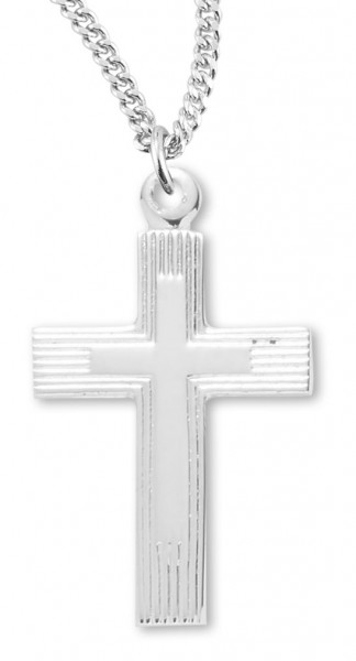 "Women's Sterling Silver Etched Cross Necklace with Chain Options - 20"" 1.8mm Sterling Silver Chain + Clasp"