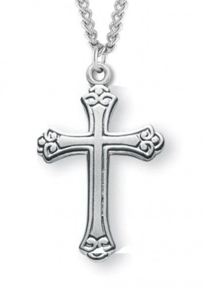 "Women's Sterling Silver Floral Tipped Cross Necklace with Chain Options - 20"" 1.8mm Sterling Silver Chain + Clasp"